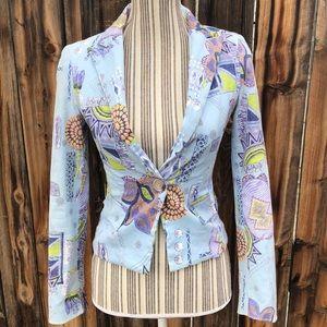 Unique Light blue blazer with colorful print